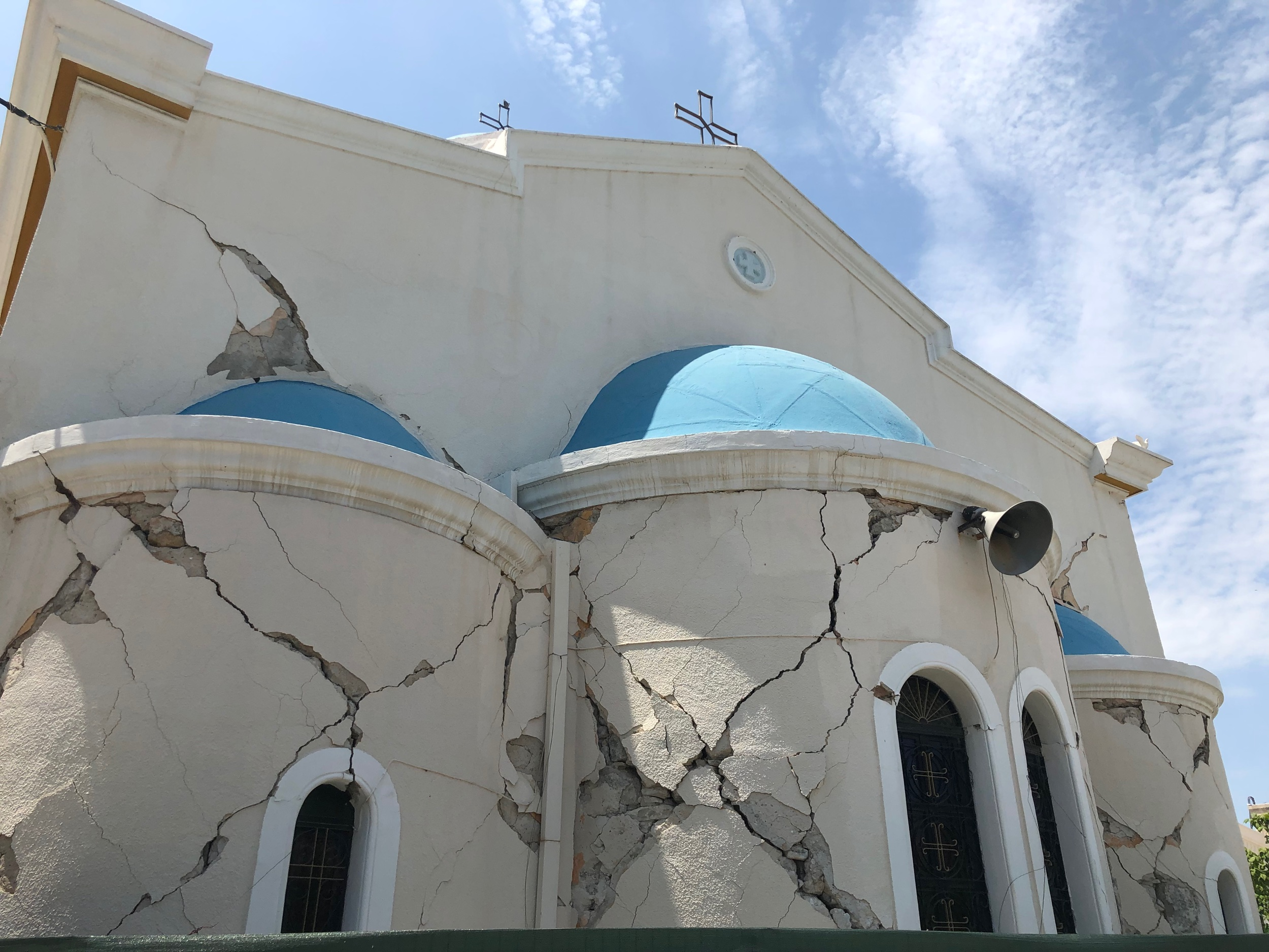 Abandoned church damaged by earthquake
