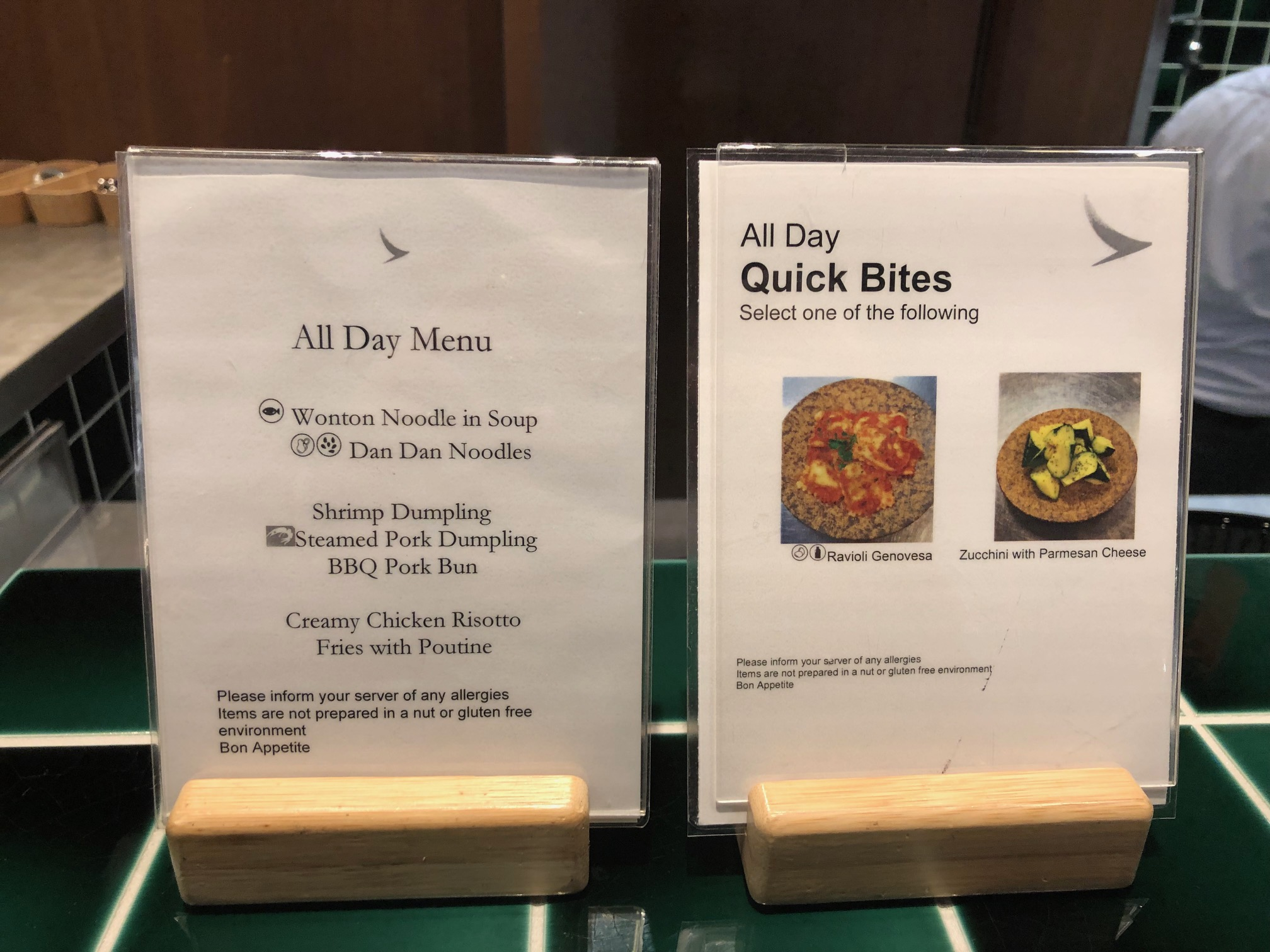 Cathay Pacific Lounge - Food Options