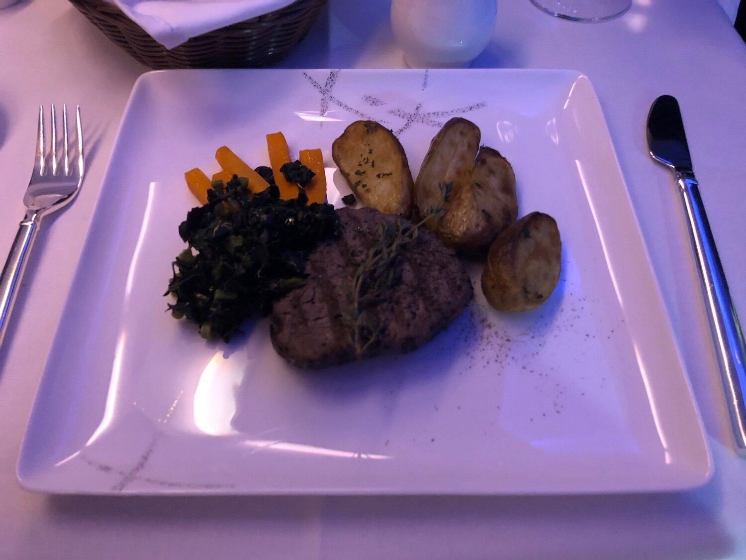 Cathay Pacific First Class - Steak