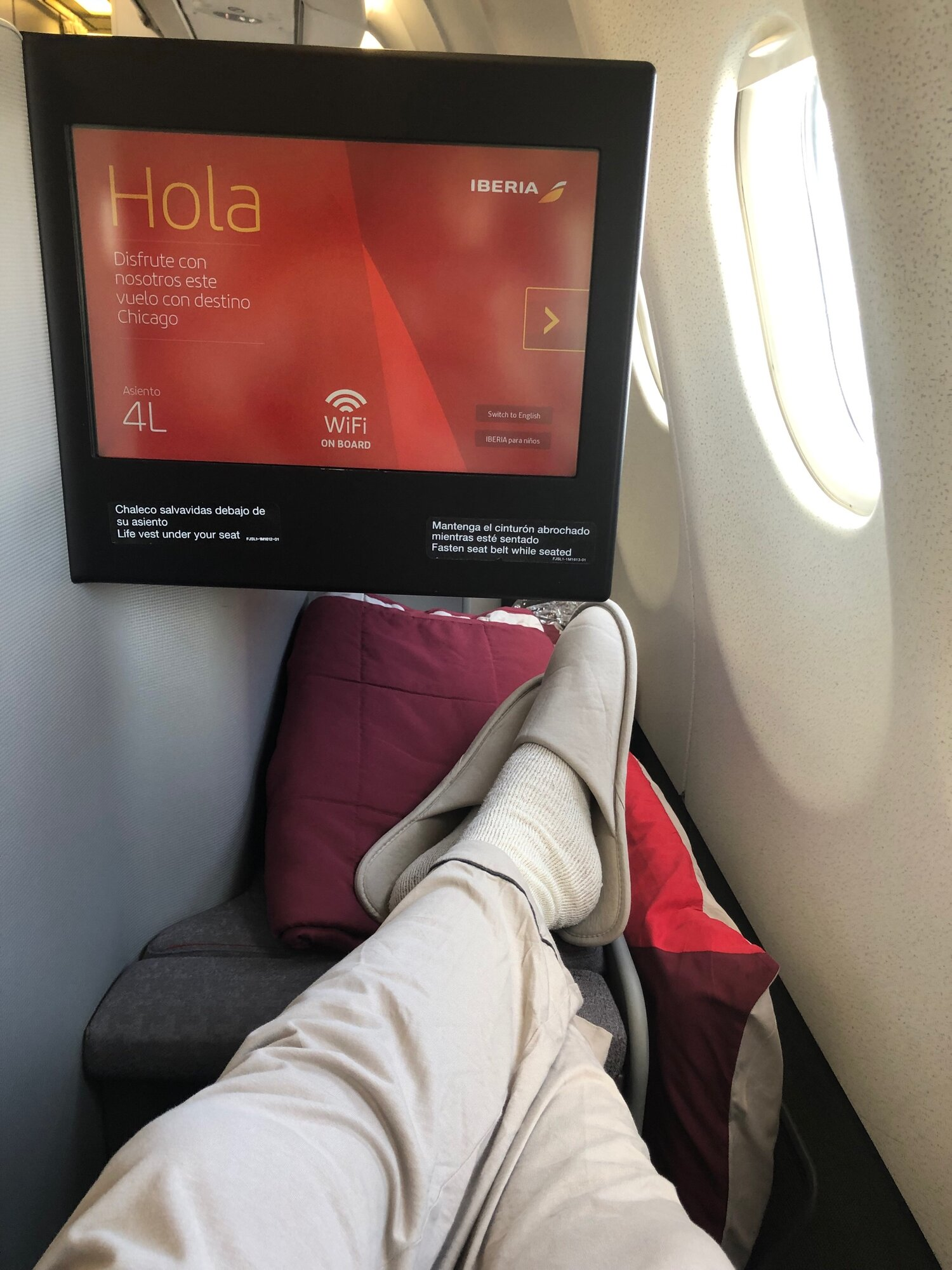 Iberia's business class seat on the A340