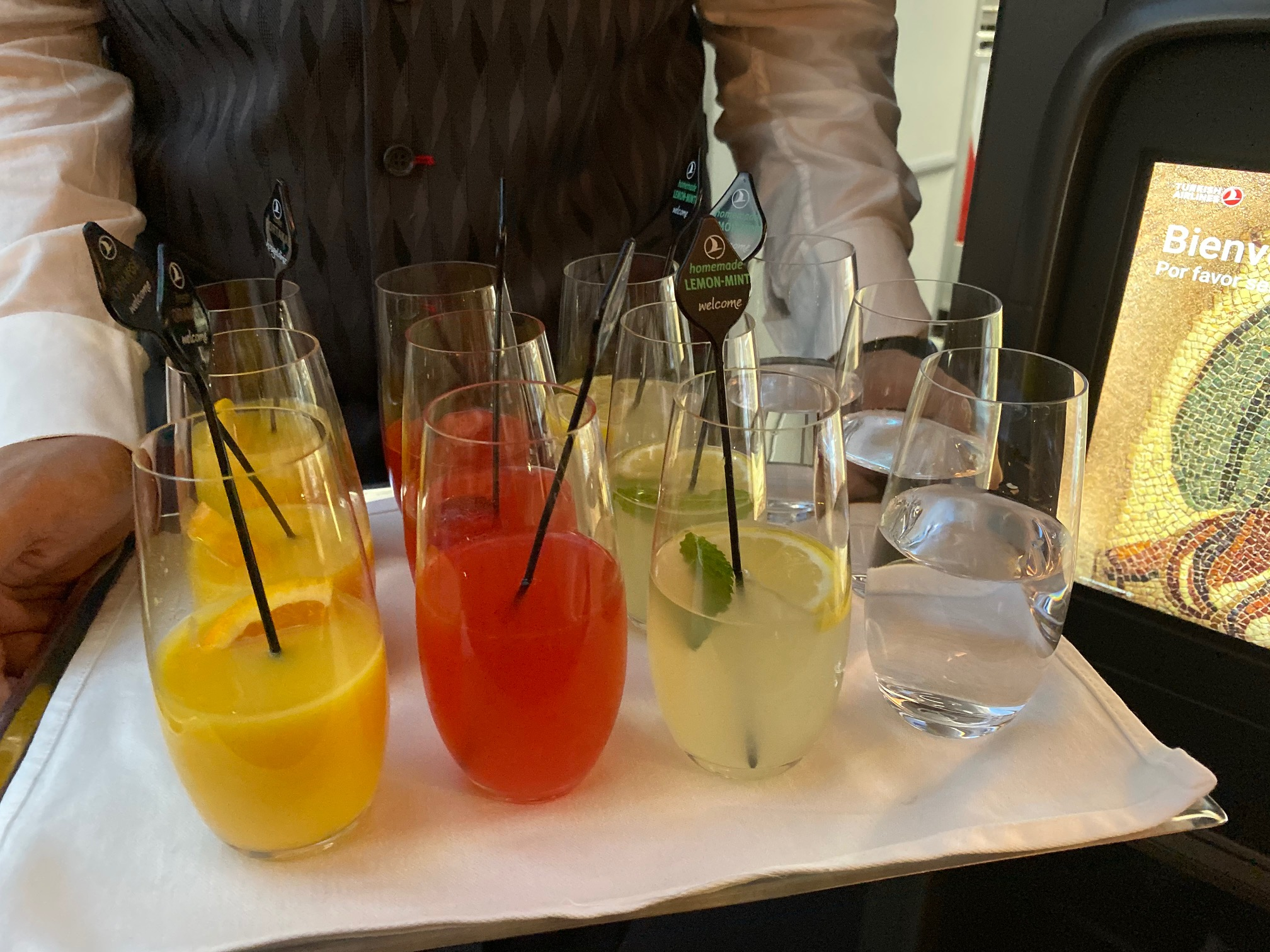 Turkish Airlines Business Class Welcome Drinks