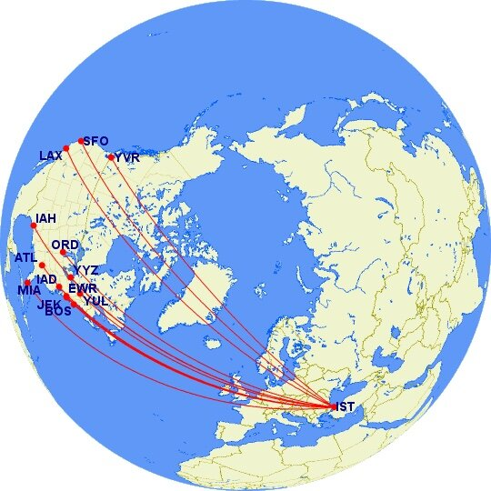 Turkish Airlines North American Routes