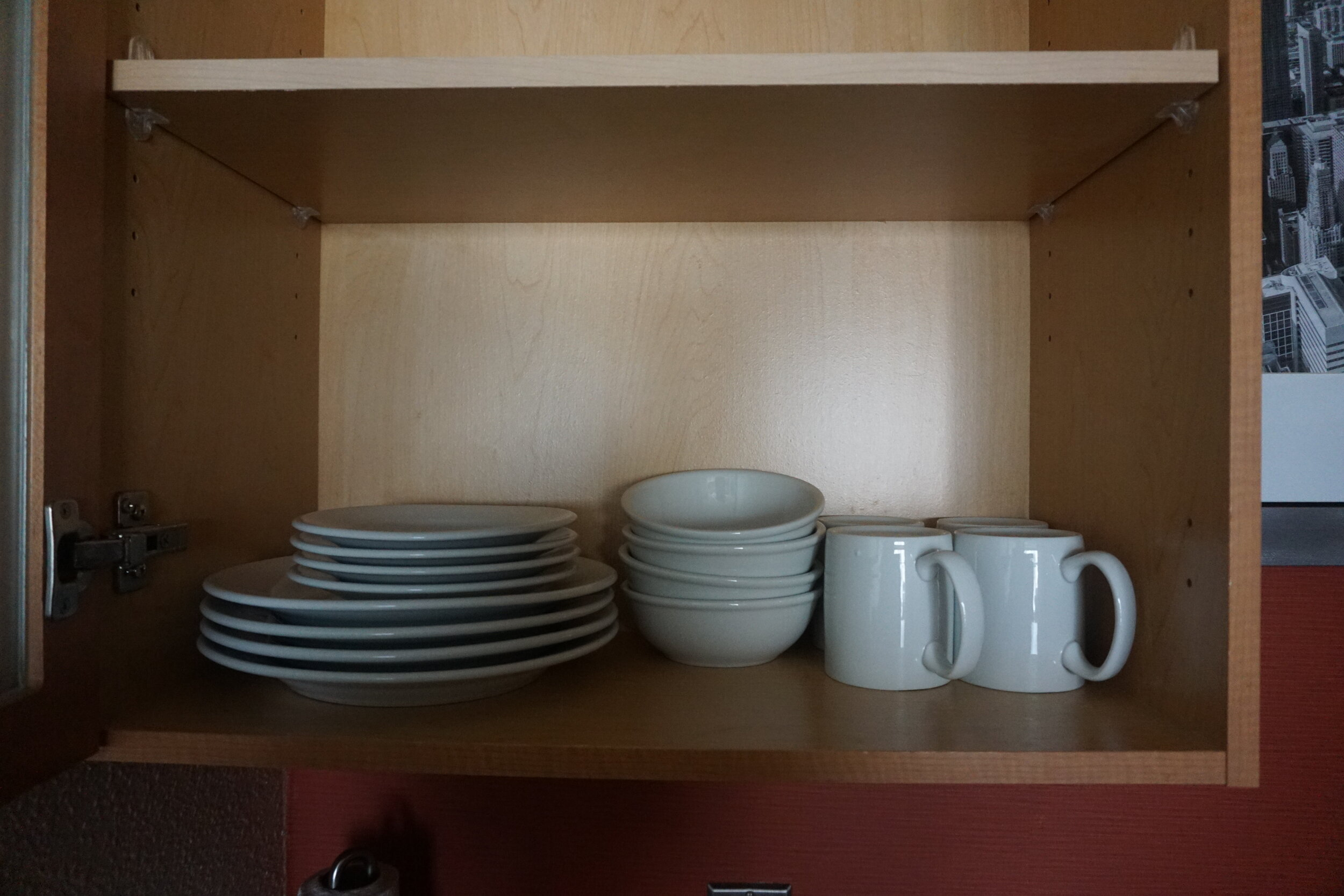 Plates (and cutlery- not in the picture) available for use