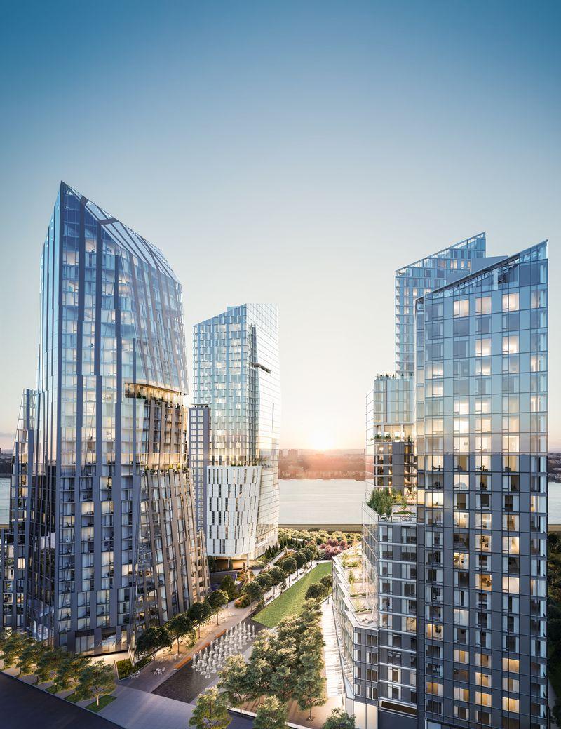 哈德逊河水边的三座现代化造型新颖的产权公寓大楼
