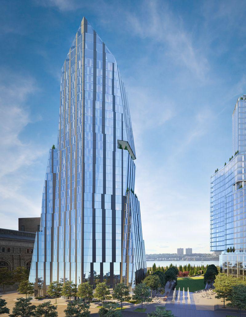 这是三号楼,由Rafael Viñoly设计,大楼的造型就如一个即将升天的火箭,新颖别致。此楼盘仅有47户产权公寓。