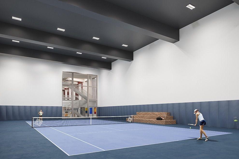 纽约市第一个公寓楼内配置的网球场