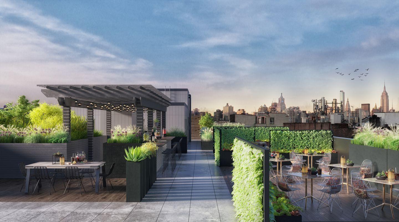 楼顶大露台,可360度观看曼哈顿天际线