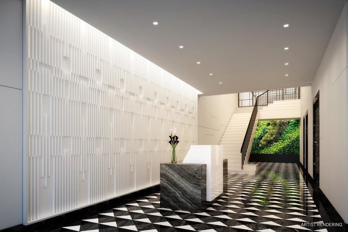 此楼大厅的最里面有一道绿色植被墙,由大楼收集的雨水灌溉