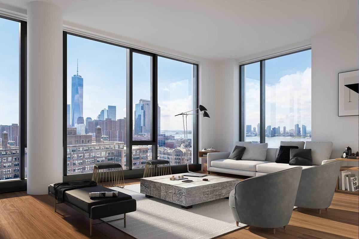 从家里客厅就能看到曼哈顿最美天际线,包括新世贸自由大厦都尽收眼底。