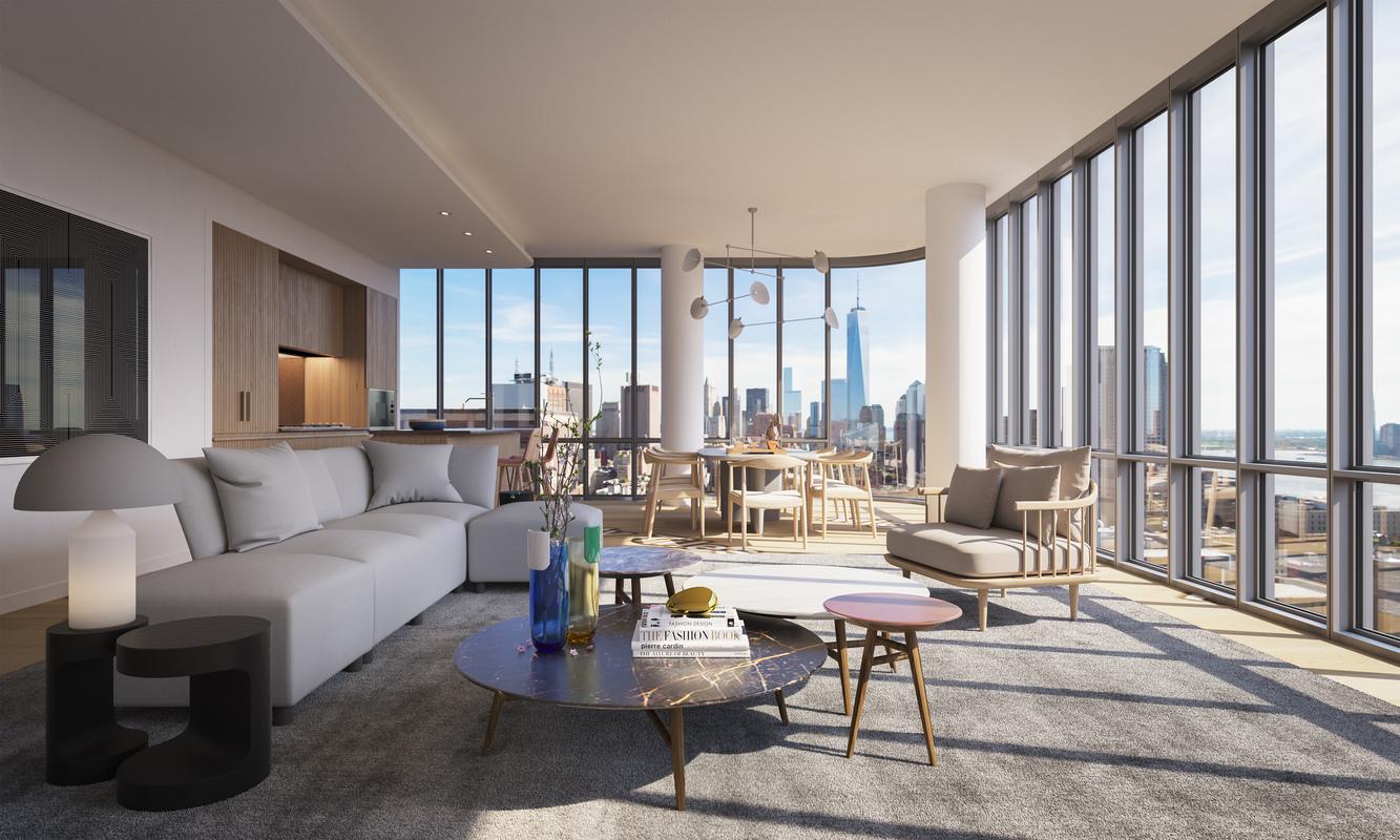 同样是落地窗配新世贸自由大厦景观,此楼盘户型面积更大。