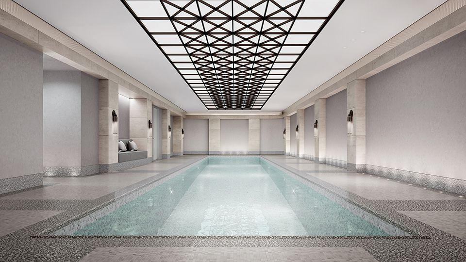 大楼也有游泳池。