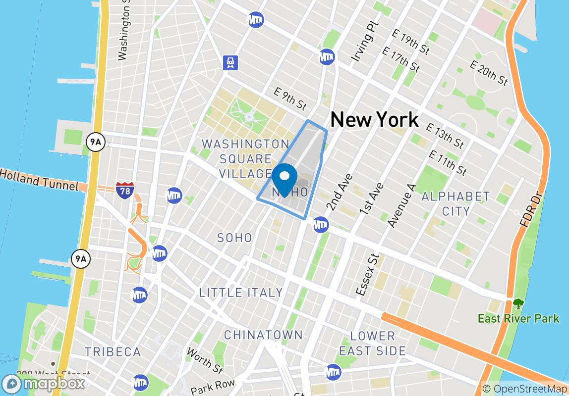 从地图上看,这是离NYU最近的一个新楼盘。即便是再不能早起的人,住在这里也不会上课迟到了!三分钟就能从家走到教室吧。