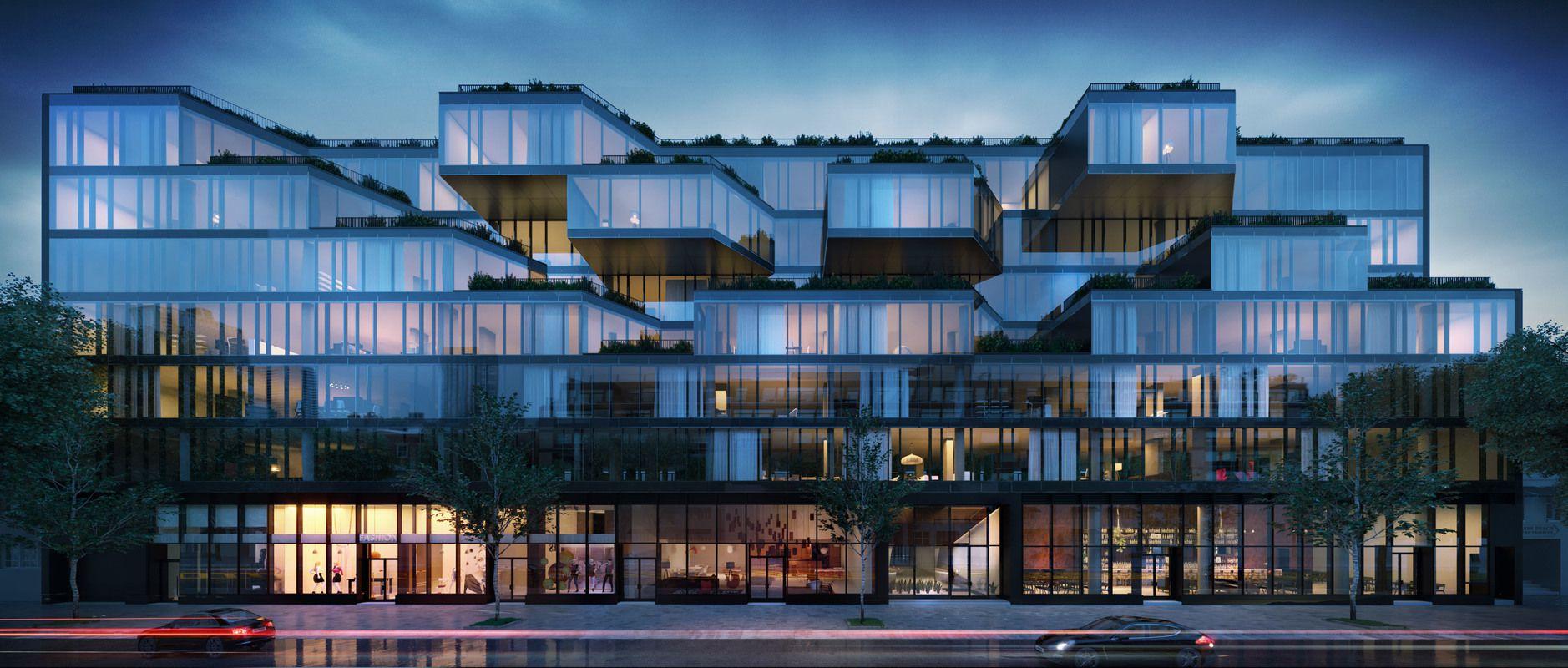 全新玻璃大楼的摩登的外立面
