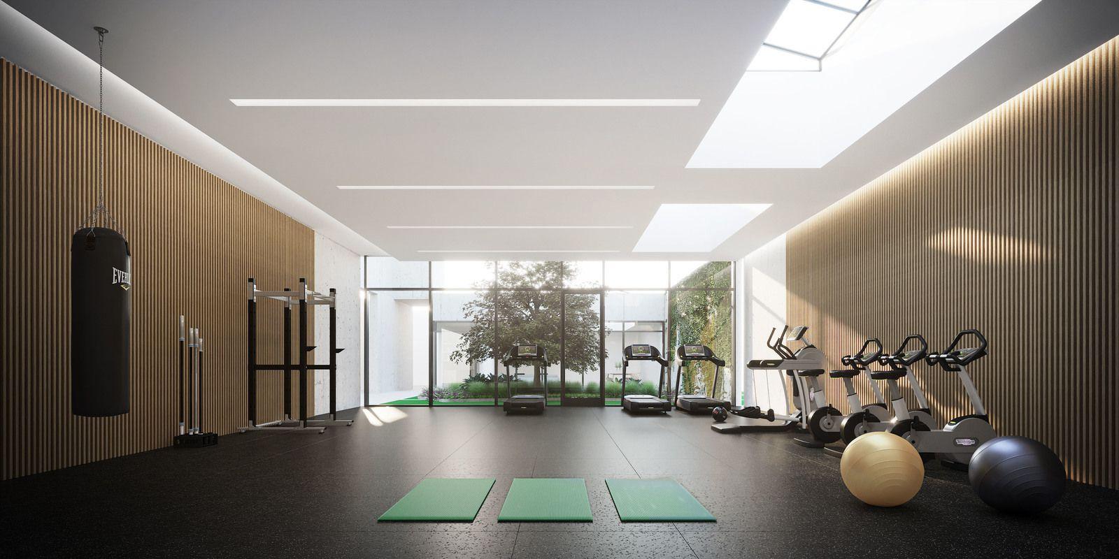 有庭院景观的健身房