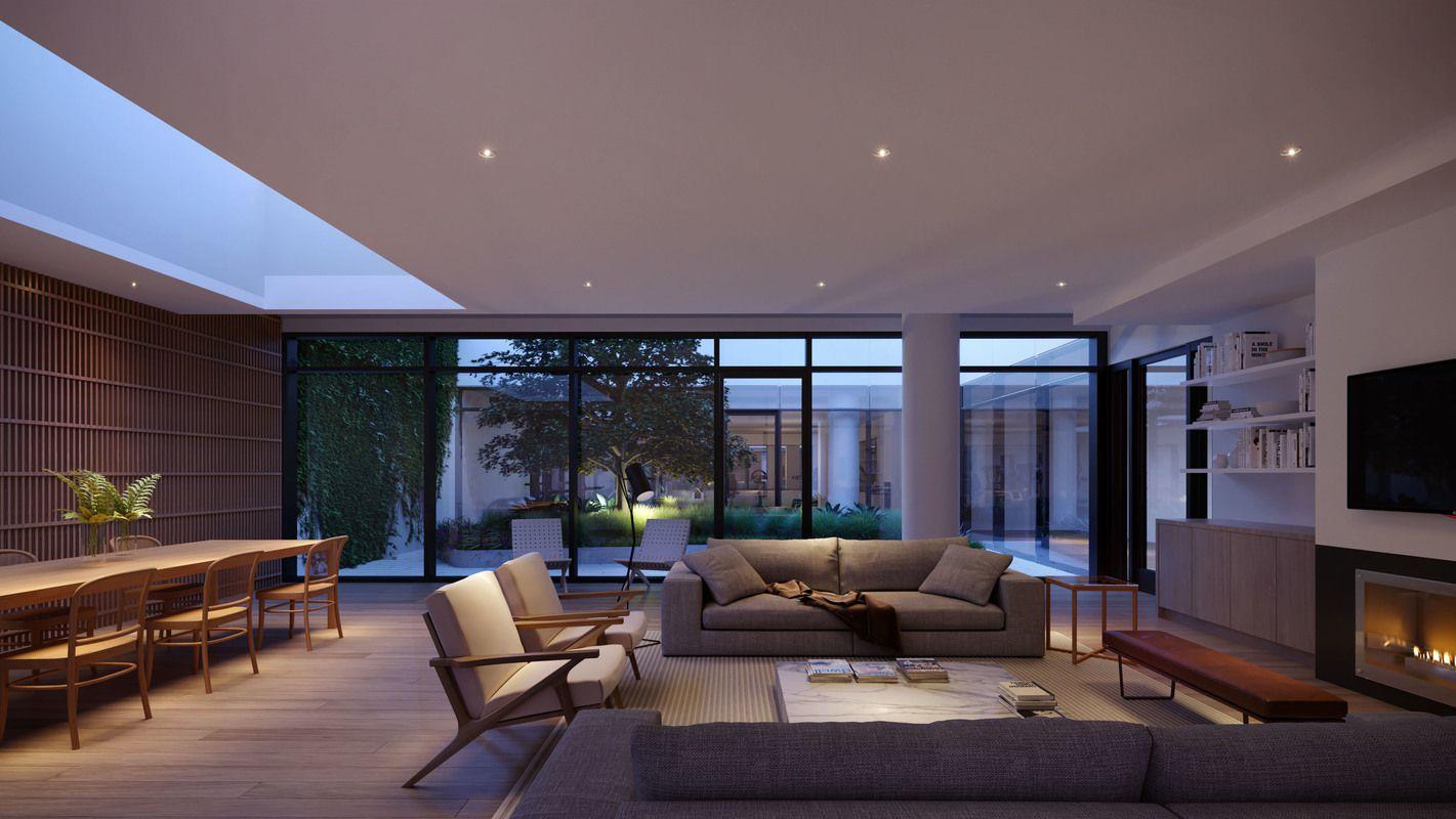 有庭院景观和带壁炉的大楼居民休息室