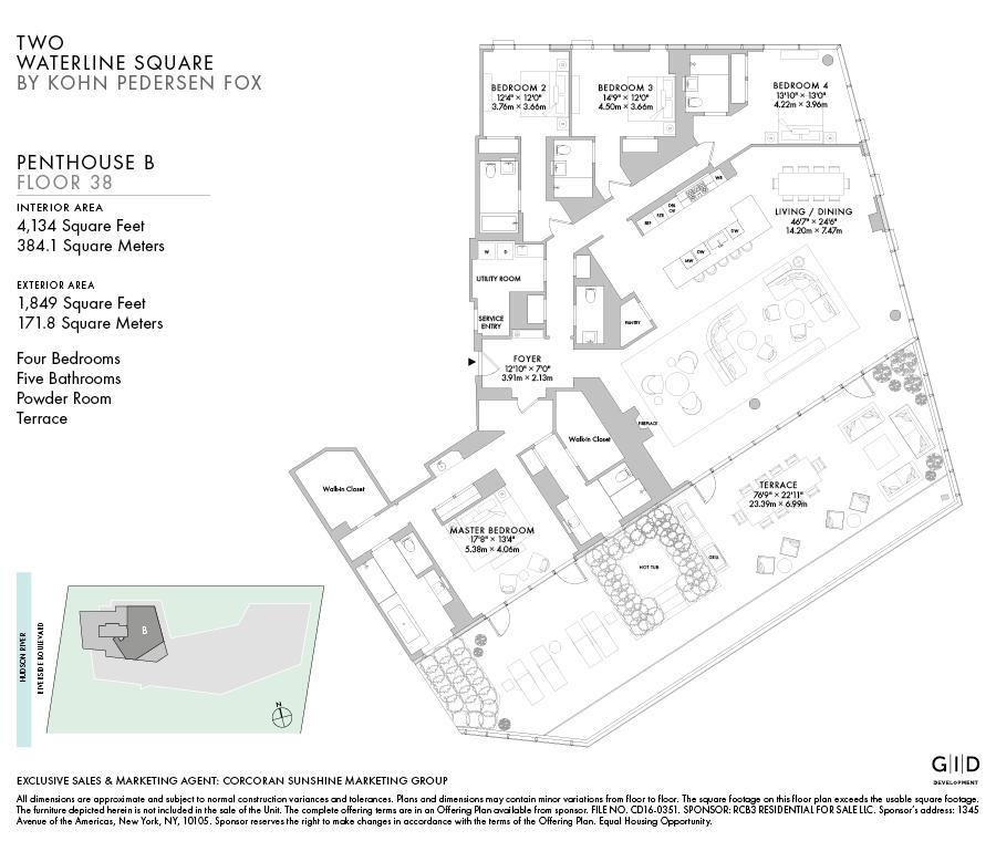 顶层Penthouse四卧五浴加一个客人用的洗手间Powder Room以及带私人大露台户型举例