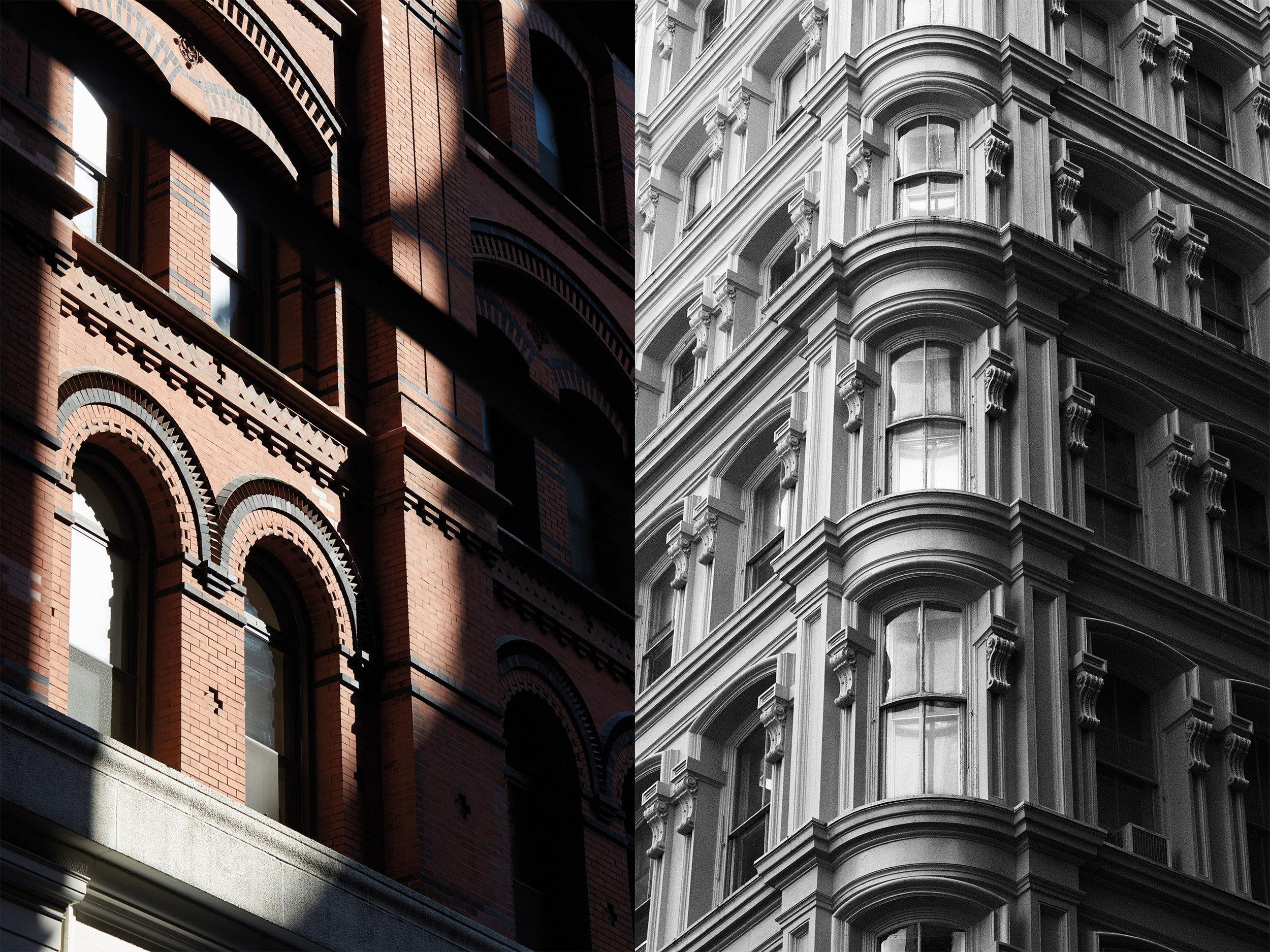 金融区的经典建筑风格,拱形的窗户