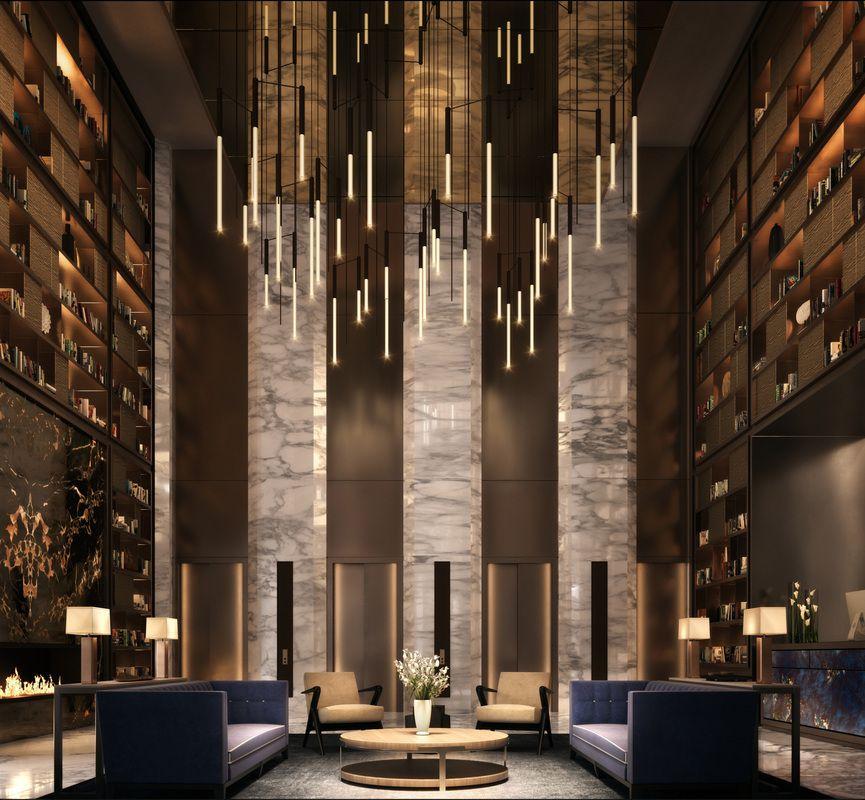 大楼的入口大厅让人过目难忘,3层高的设计,全时候门卫管家服务守候。