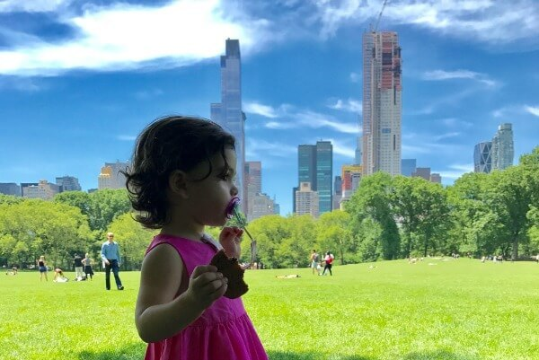在中央公园里玩耍的孩子