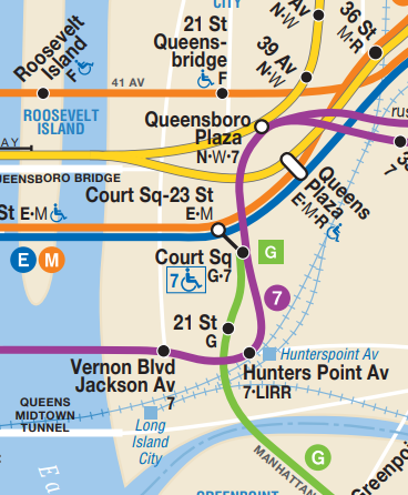 Long Island City的地铁线路图,沿着紫色的7号线地铁第四站就是Queensboro Plaza