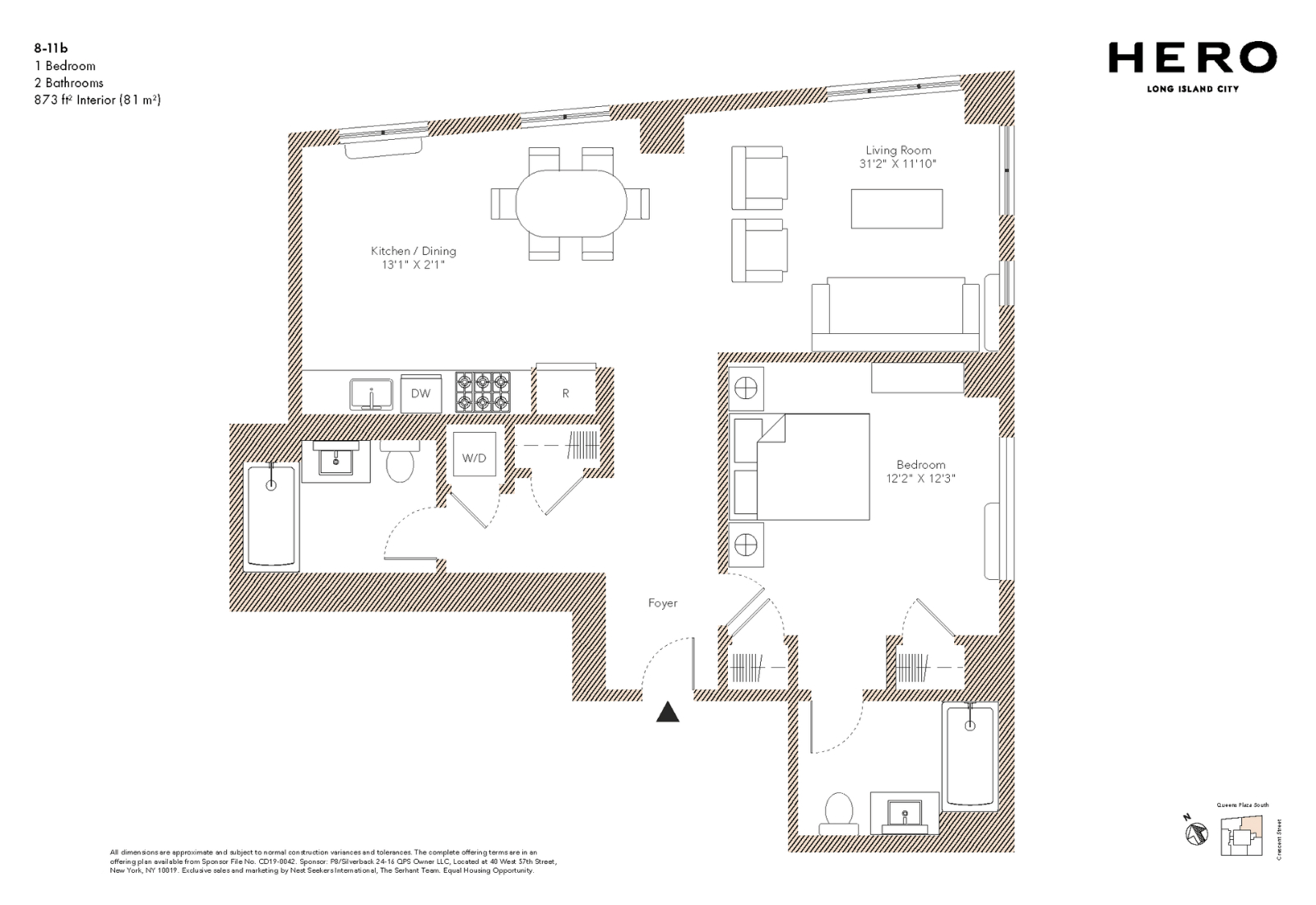 B Line: 一房一厅户型,此户型很容易改为两房