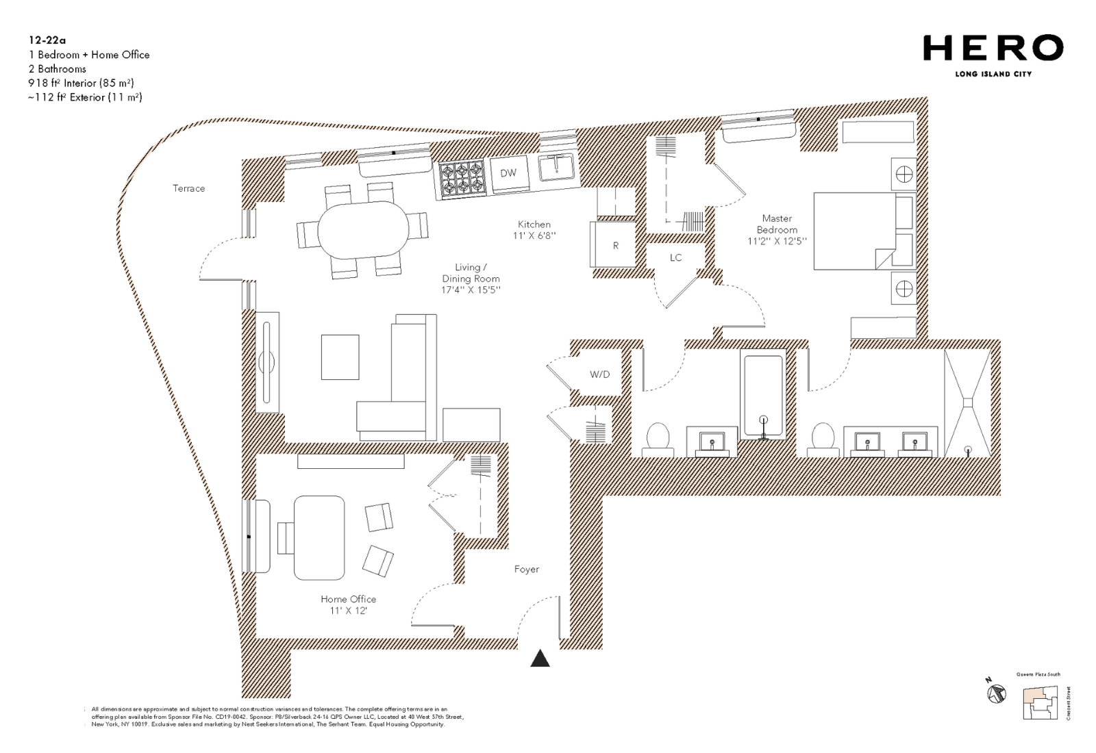 A Line: 一房一厅加一个家庭办公室,可以当作两房来使用,还有私人阳台