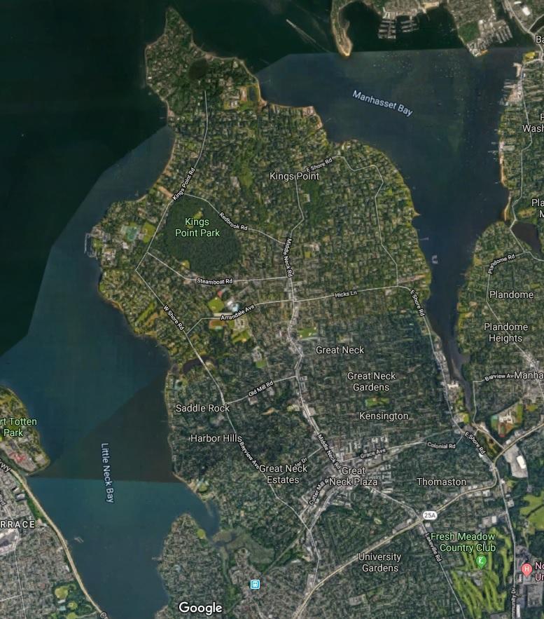 Great Neck 卫星鸟瞰图
