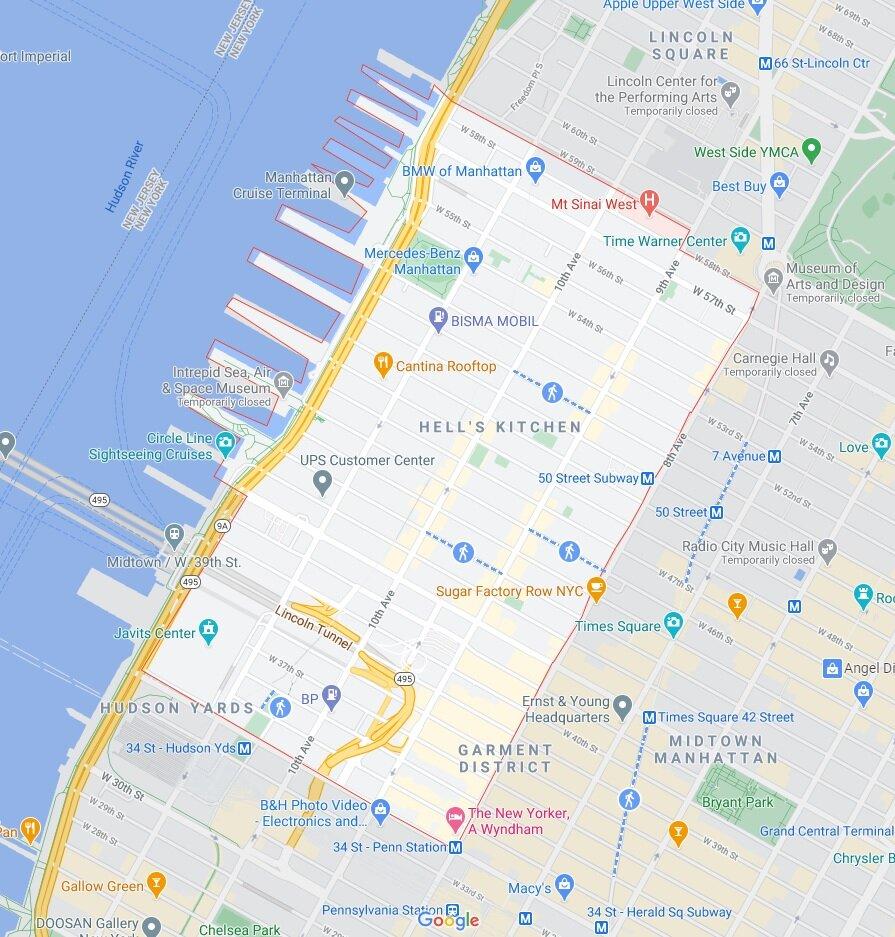 红线内是曼哈顿中城西
