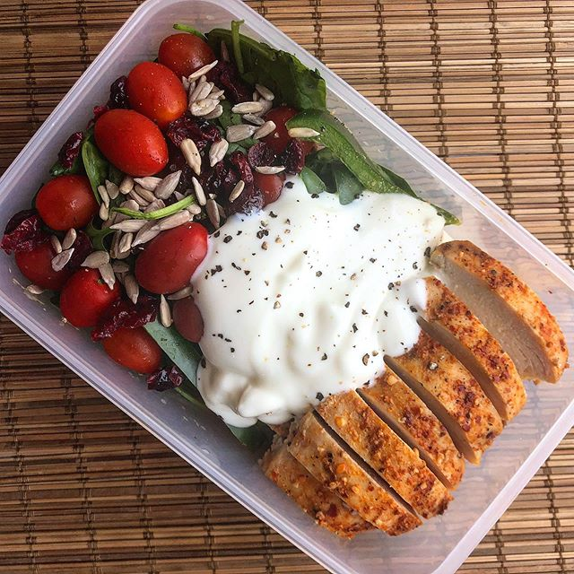 Today just a quick meal prep! Always on the go and always prepared. It's the only way to be! This is peri peri chicken breast, baby spinach salad with tomato, cranberry and sunflower seeds, whole meal flax bread and low fat greek yogurt. Quite the mouthful. Bon appetite! #cleaneating #eatwellbewell #iifym #eatforabs #cleaneating #mealprep #mealplan #whole30 #fitfood #healthyfoodideas #nutritiontips #preworkoutmeal #flexibledieting #macros #highproteindiet #sgfitspo #nutritioncoach #sgfitness #consistencyiskey #eathealthy #weightlossjourney #sgfitfam #eatrealfood #healthychoices