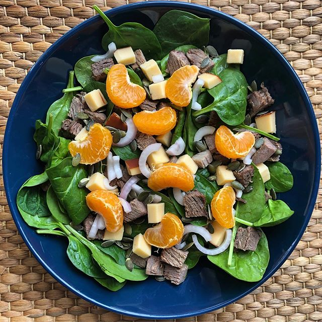 Got to get my energy levels up for Sunday food prep. Lots on the menu today! So I needed something quick and healthy with lots of energy. Baby spinach salad with toast beef, red onion, orange, pumpkin seeds, and smoked Gouda cheese should do the trick. #mealprepsunday #fitfood #mealprep #mealprepping #relax #sundayfunday #eatclean #iifym #eatrealfood #flexibledieting #salad #eatmoreplants #eattherainbow #consistencyiskey #healthyfood #nutritioncoach #sportsnutrition #eattoperform #fitand40 #sgfitspo #weightlossmotivation #sgfitness #sgfit #eatwellbewell