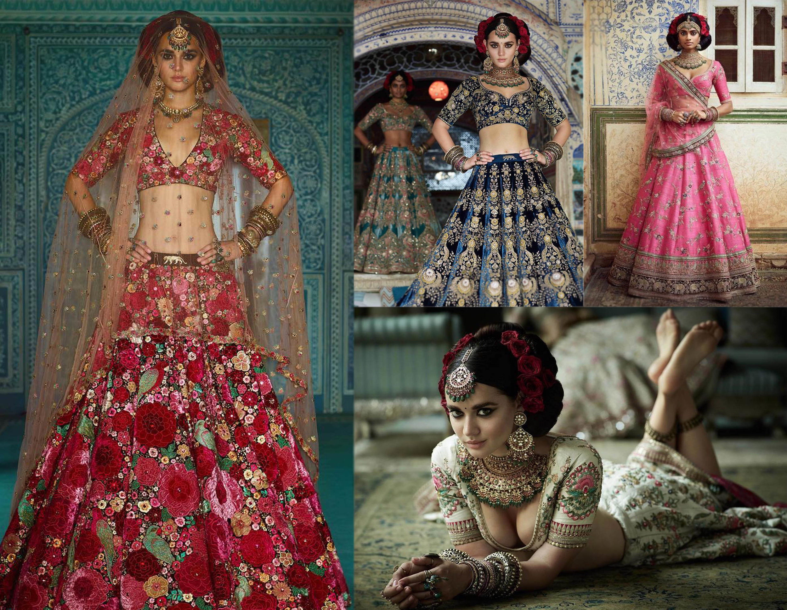 Sabyasachi - The collection was filled with hand-embroidery lehengha and sarees. The most famous outfit being the 'Dil-guldasta lehenga.