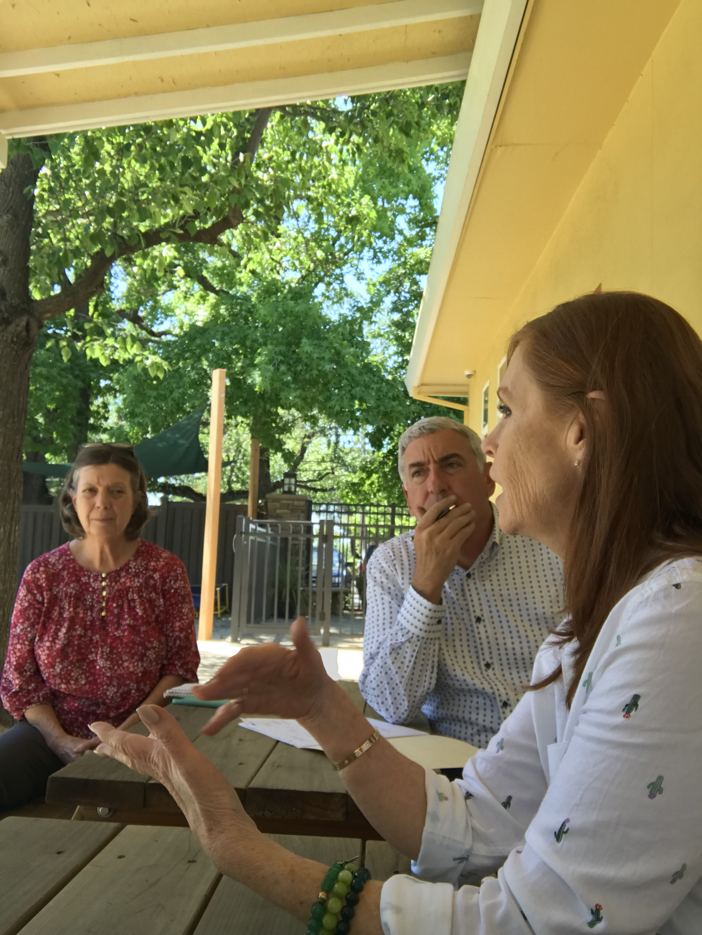 Staffing expert Kathe Petchel and HINGE National Director of Real Estate Mike Pepper meet with a childcare business owner to assess her early learning schools in Sacramento, CA.