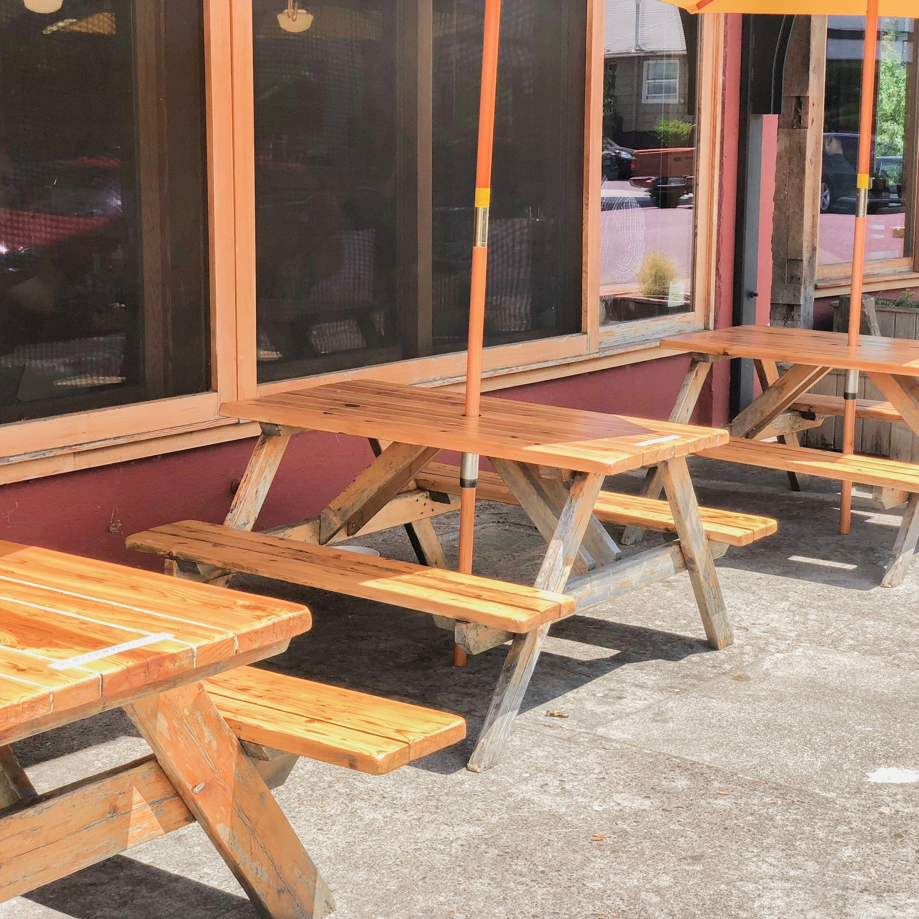 """Outside seating was limited to picnic tables, but the reviewer took care to comment that: """"The picnic tables seemed bigger than most and were nicely shaded."""""""
