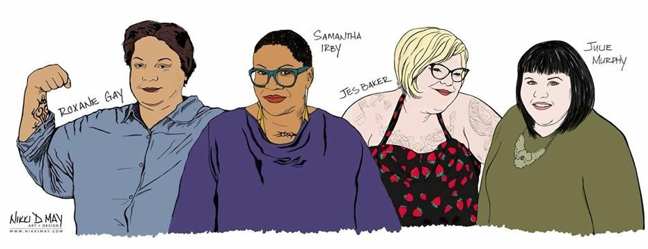 Drawing of Roxane Gay, Samantha Irby, Jes Baker, and Julie Murphy by Nikki D. May.