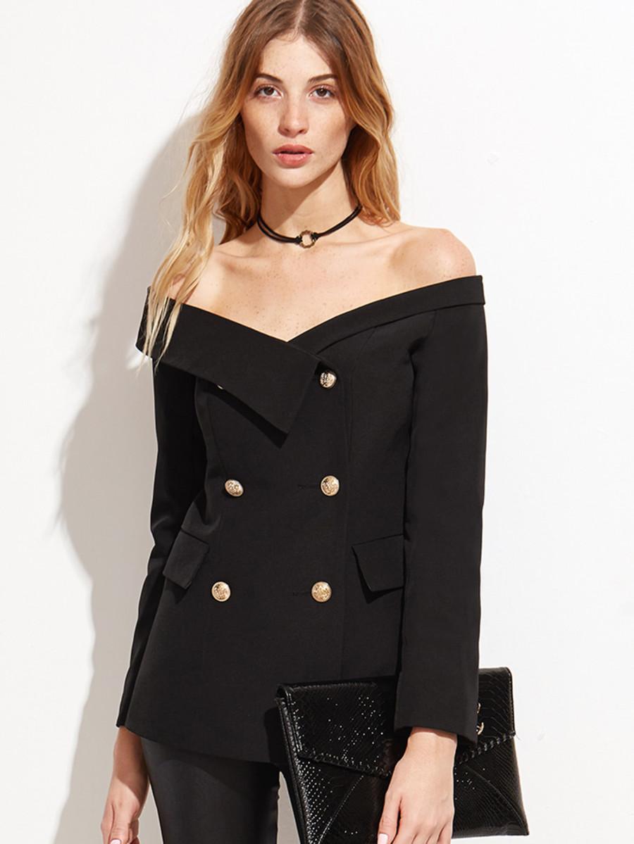 Bardot Fold Over Military Blazer
