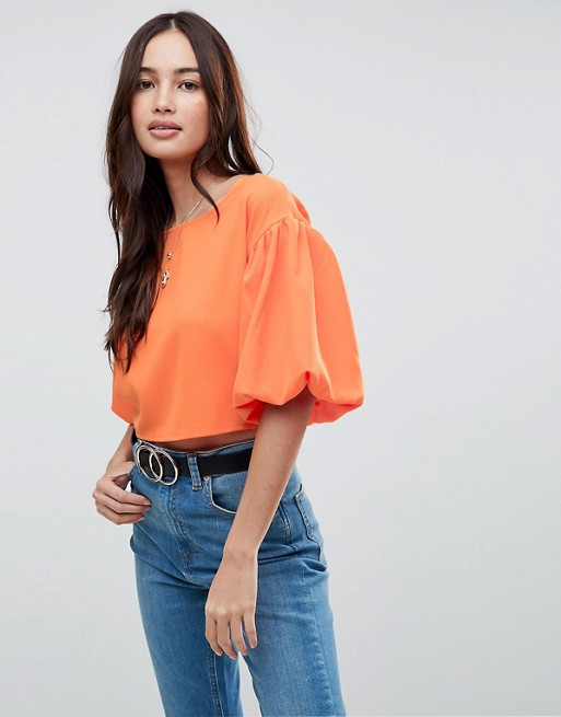 Boohoo Exaggerated Sleeve Cropped Top