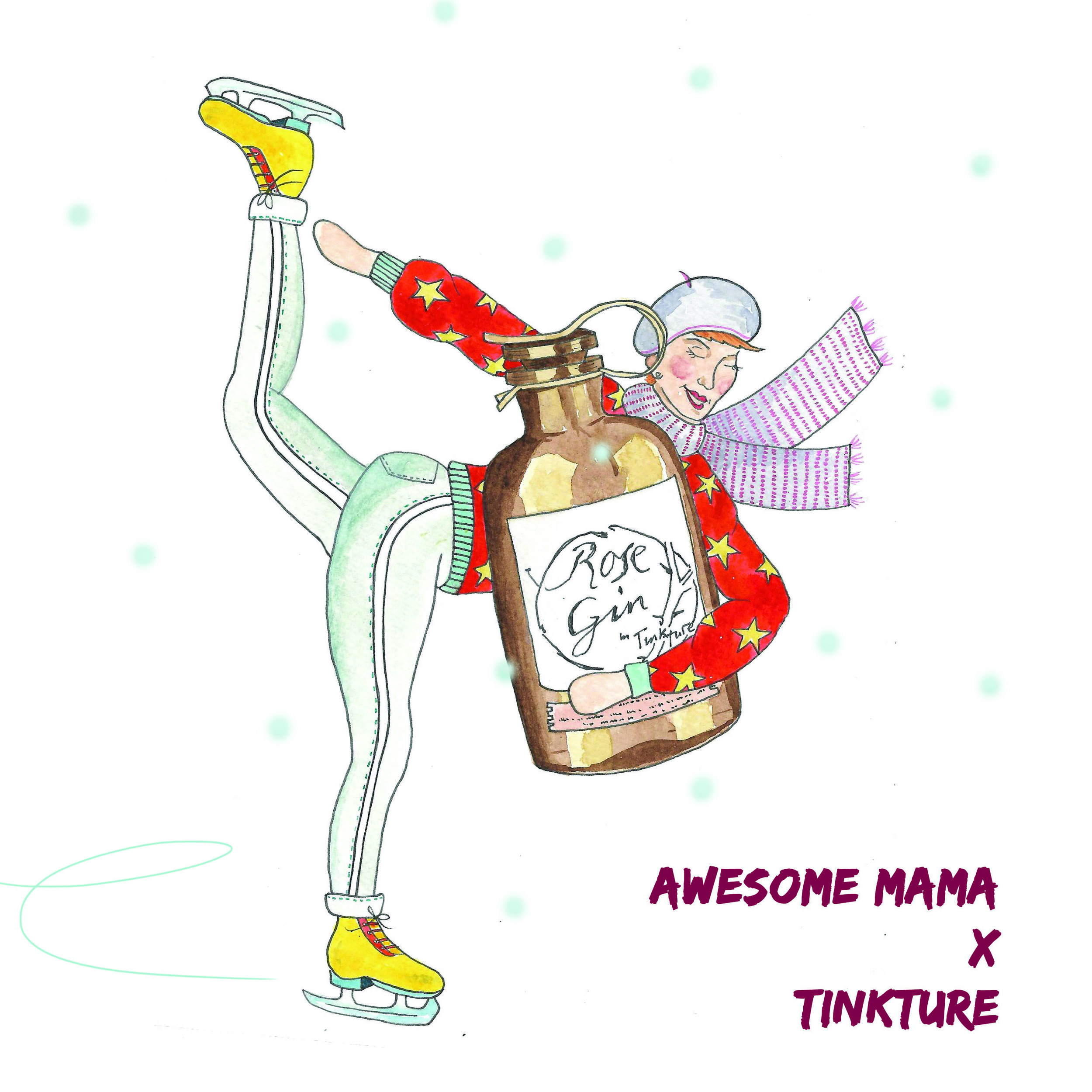tinkture gin and awesome mama illustration christmas gin competition