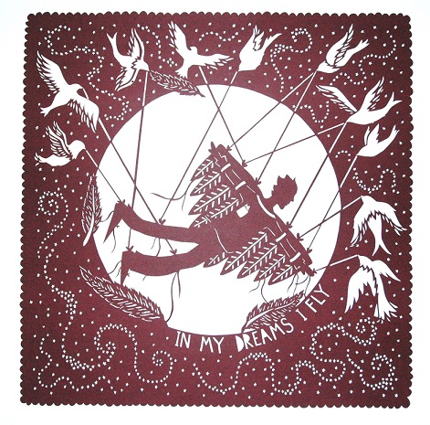 InMyDreamsIFlyAAF stacey williamson-michie www.awesomemamaillustration.com paper cutting