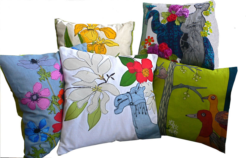 Individually hand  made cushions developed from drawings in and around London.