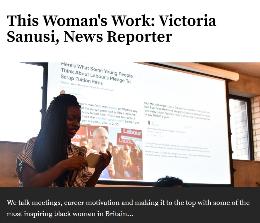 This woman's work: Victoria Sanusi, News reporter  - Black Ballad - March 2018