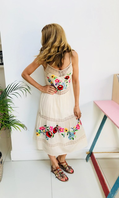 Embroidered dress: £50  ASOS   Beautiful embroidery  Comes up big Simple but chic