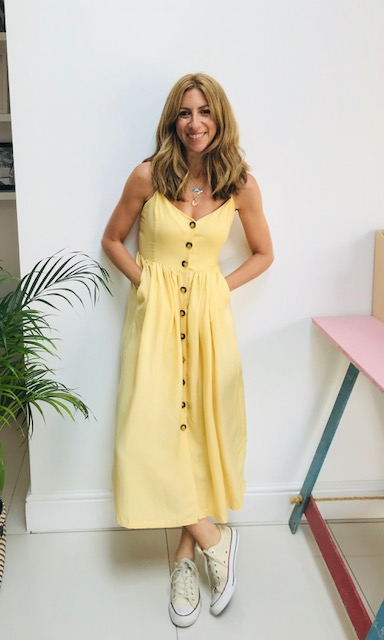 Yellow button through dress: £34.99  H&M CONSCIOUS  (only in store) Here is an alternative you can find online:  H&M This dress comes in blue and white.  It's got pockets Spaghetti straps Lovely buttons