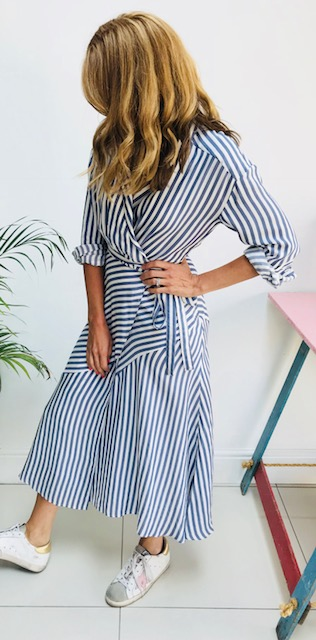 Blue stripe dress: £39.99 (sold out) H&M  Click below to see an alternative dress!  M&S   Long sleeve wrap dress Great shape for curves Comes up very big