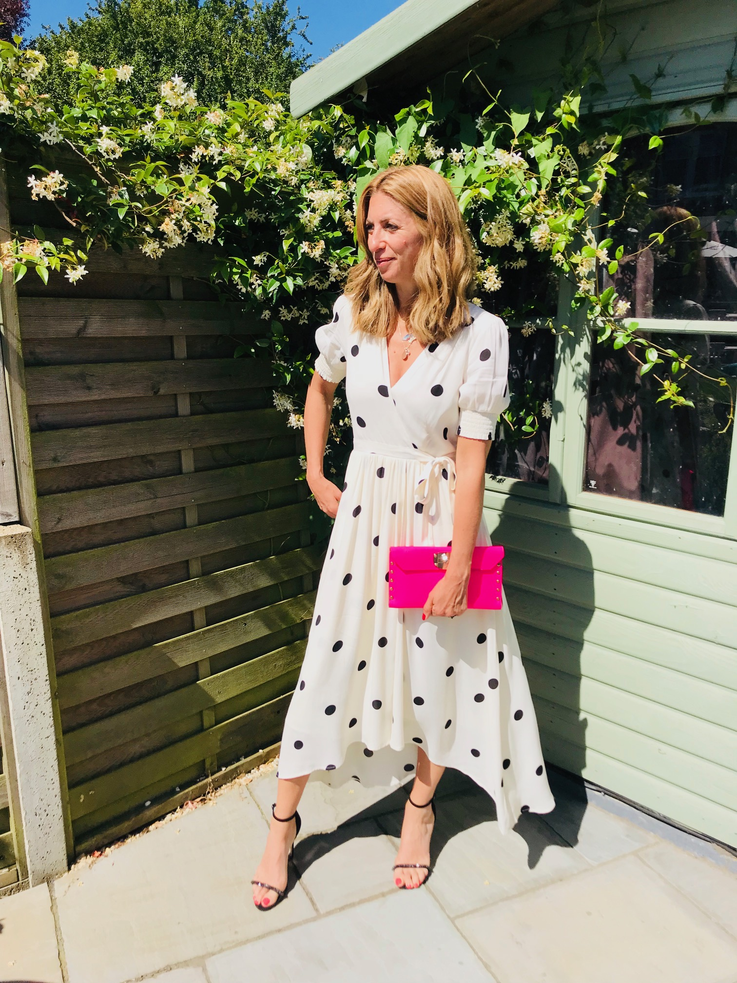 Dress - From Anthropologie£148 (polka dot only in store)100% viscoseFully linedCute puff sleevePerfect for a wedding