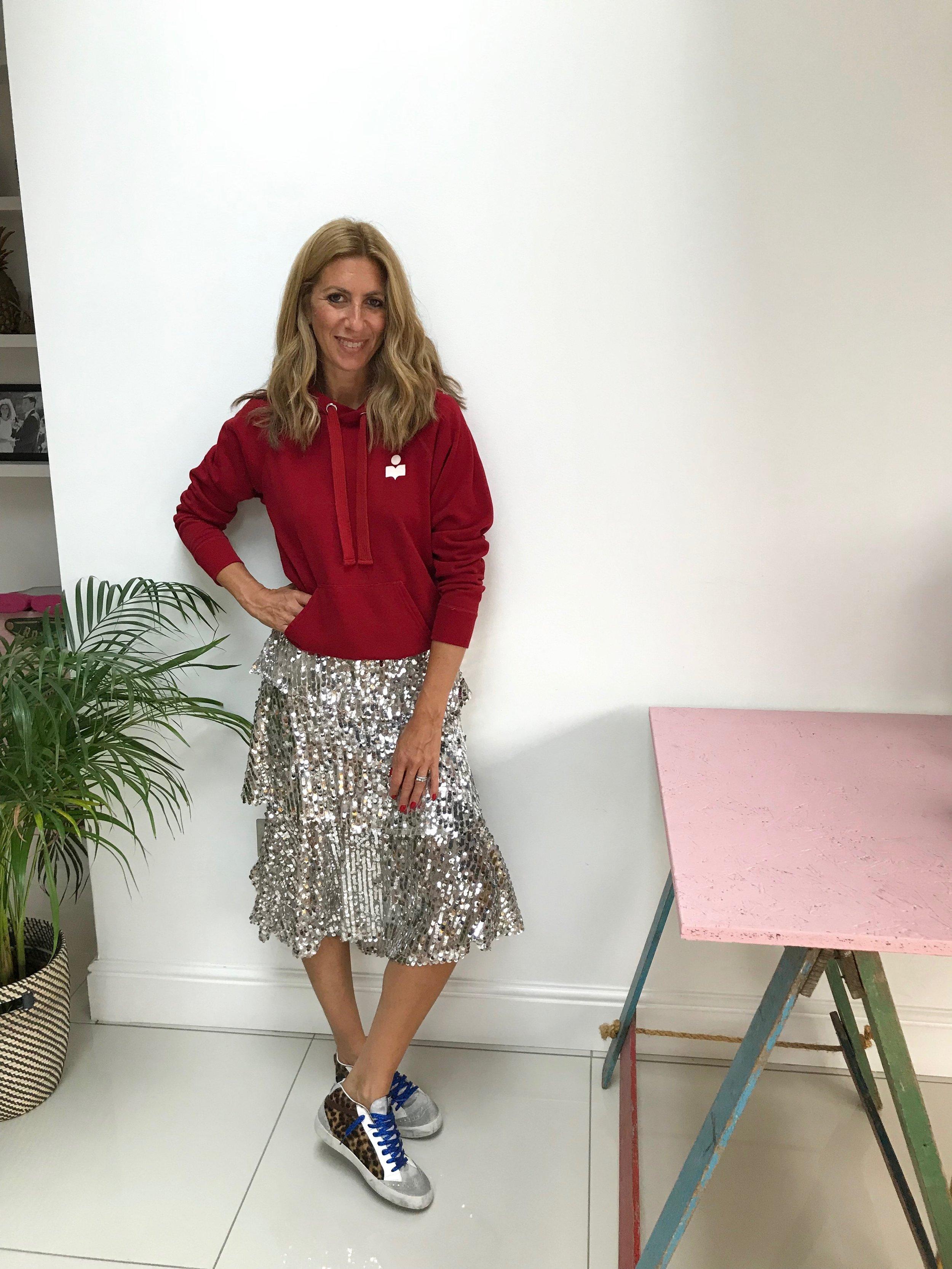 Jumper:  Isabel Marant Etoile  Skirt:  Zara  Trainers:  Golden Goose