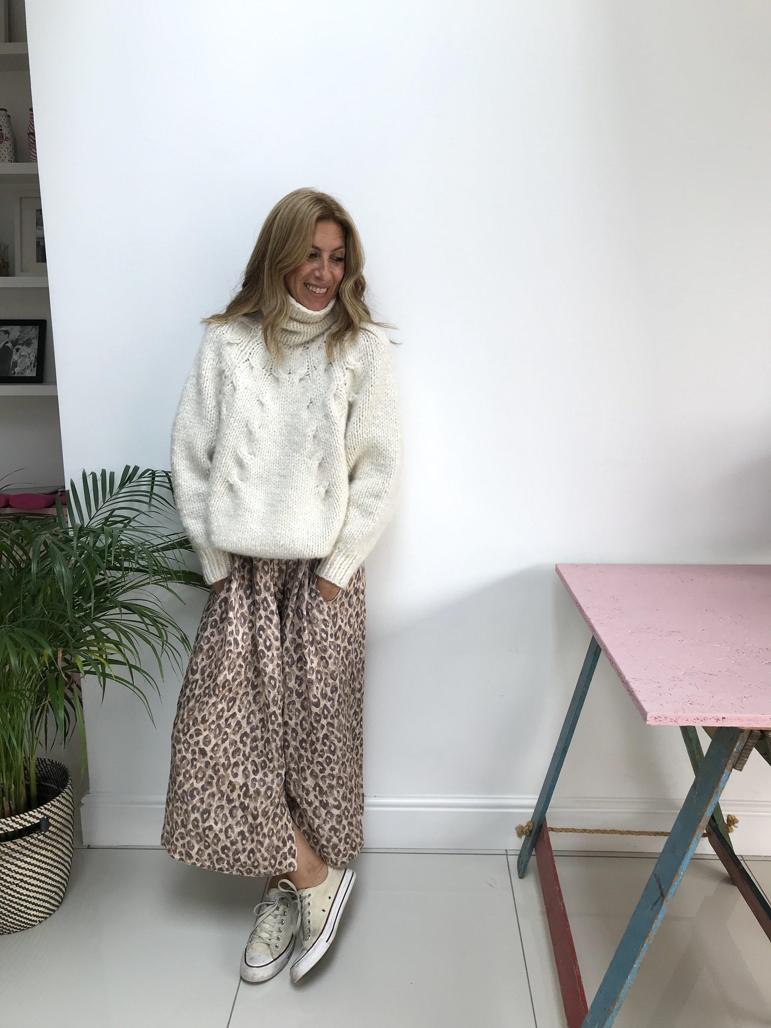 Jumper (old sale purchase): Oscar De La Renta  Zara (similar style) Dress:  Zimmermann  Trainers:  Converse