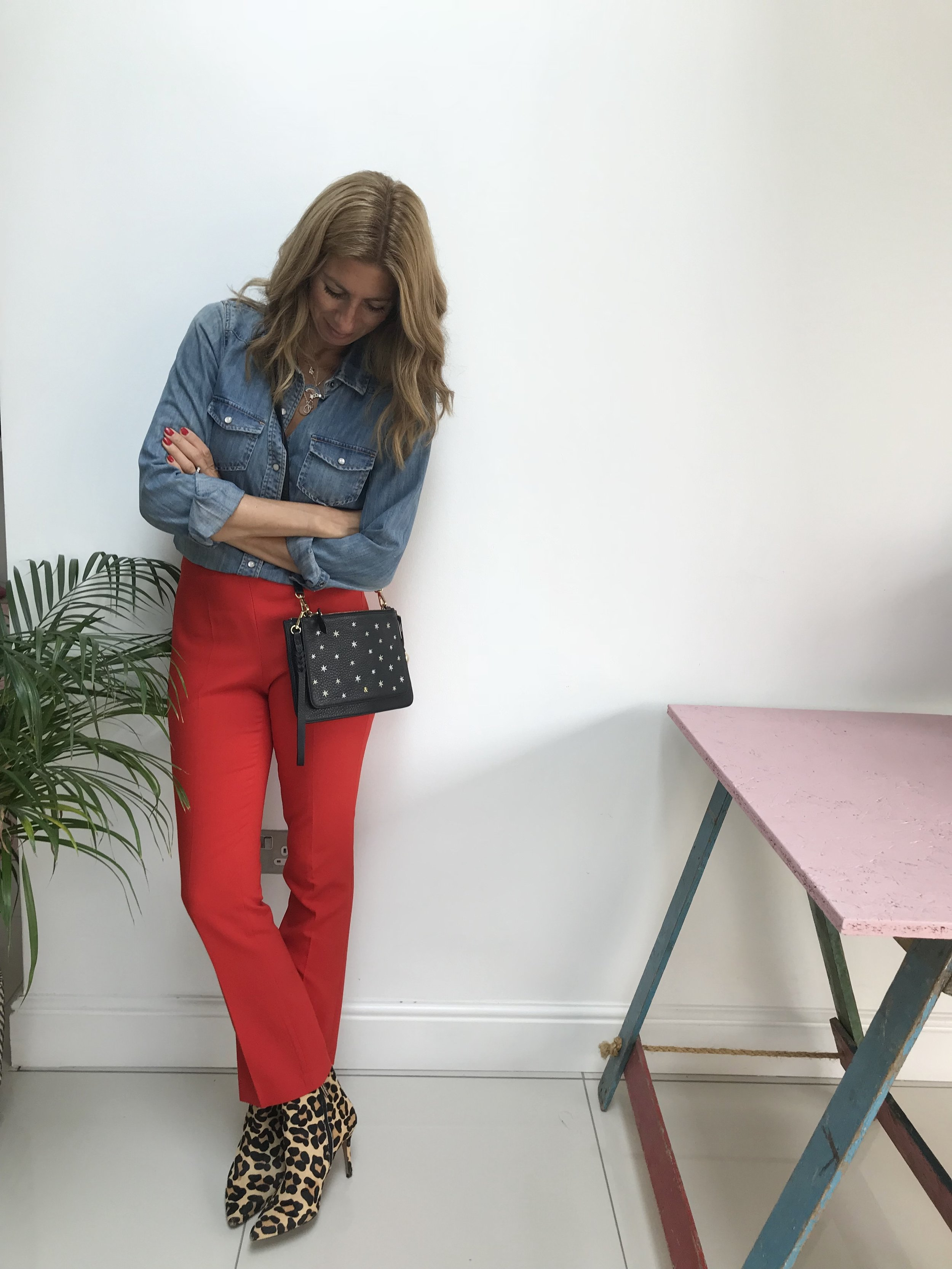 Shirt (old): J Crew  Asos  (similar style) Trousers (old): Topshop  Asos  (similar style) Boots(old):  Hush (similar style) Bag:  Bell & Fox