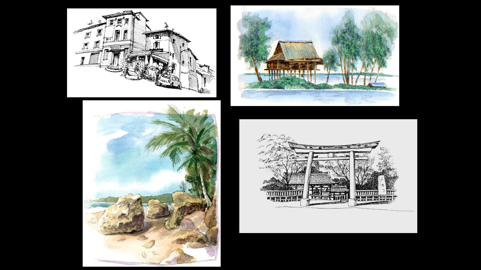 Sketches – Arles, Cambodia, Costa Rica, Shizouka