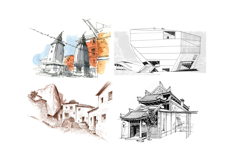 sketches – Baktapur, Porto, Monsanto, Hue