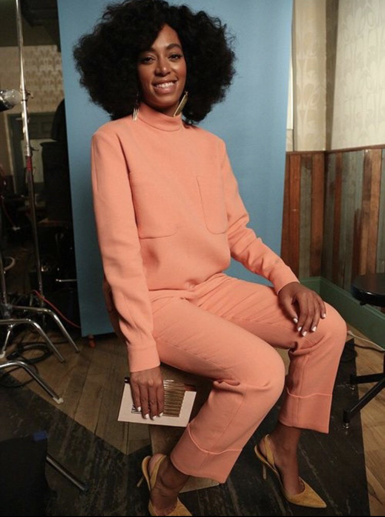 Hostess Wear:  Take a note from her highness, Solange, and snag a chic and comfortable pant suit in coral  (similar look from Madewell here ) , a neutral clutch and a cute kitten heel in a complimentary shade.